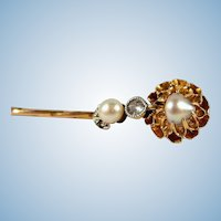18K solid gold pin with old European cut diamond and pearls Stamped Edwardian gold tie tack Art Nouveau brooch