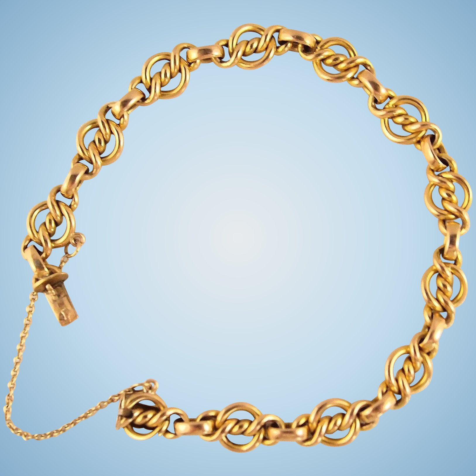 anklet bracelet l solid gold rope twisted chain yellow