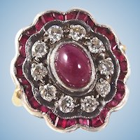 Superb Late Victorian era 18K solid gold and silver statement diamond halo ring Ruby cabochon Hallmarked