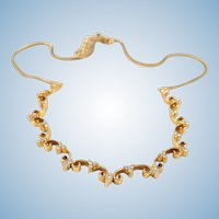Elegant 18K solid gold necklace with brilliant cut diamonds Unique expandable chain Stamped