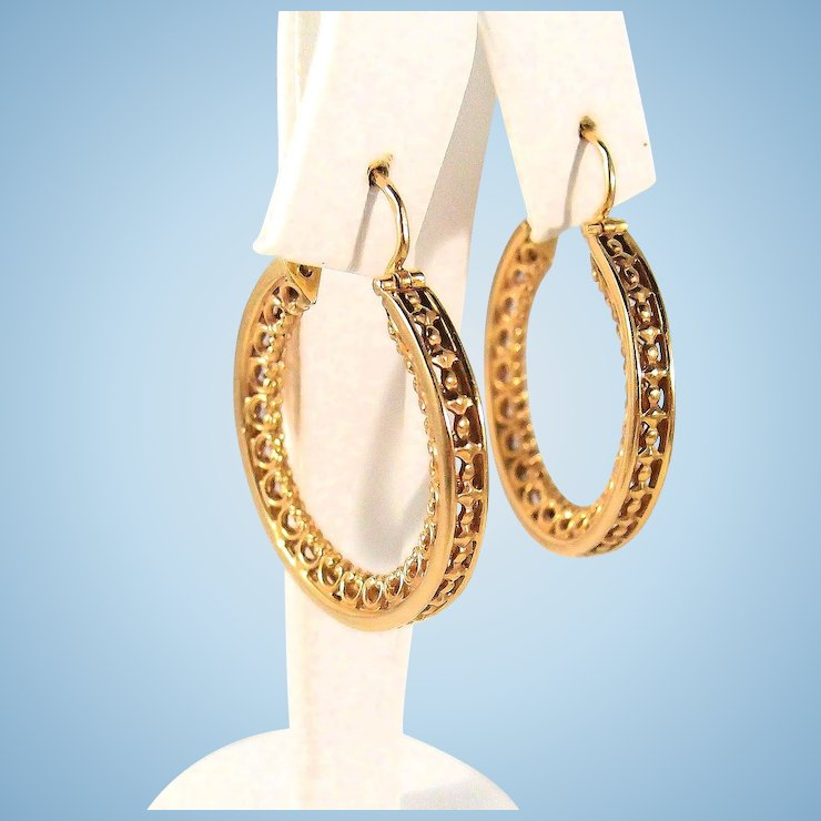 Sold Victorian 18k Solid Gold Hoop Earrings Stamped French Fine Jewelry Tastefully Decorated And Great
