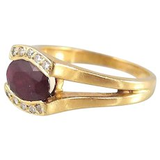 SOLD Splendid ruby and brilliant cut estate diamond ring crafted in 18K solid gold, stamped French fine gold ring