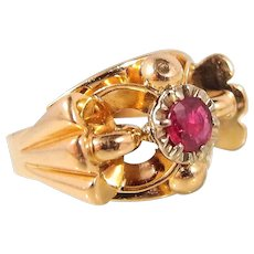Art Deco 18K solid gold and natural ruby ring, stamped French jewelry, unique craftsmanship