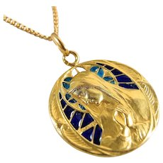 SOLD Exquisite plique-à-jour 18K solid gold, signed Becker religious medal, French fine jewelry, Virgin Mary portrait