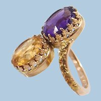 Double gemstone 18K solid gold large crossover ring Stamped Faceted gemstone statement ring