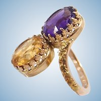 Double gemstone 18K solid gold large crossover ring Stamped Faceted multistone statement ring