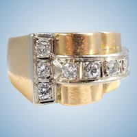 18K solid gold heavy bridge ring Déco period Brilliant cut diamonds Stamped fine gold jewelry