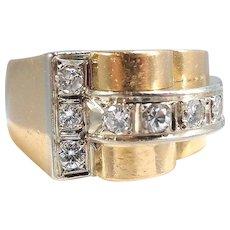 18K solid gold heavy bridge ring Deco period Brilliant cut diamonds, Stamped fine gold French jewelry