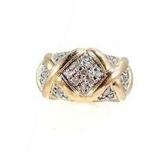 Wide and heavy 18K solid gold ring 27 natural round cut diamonds Stamped fine French gold band