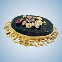 Victorian era bloodstone brooch Natural pearls Diamond and spinel 18K solid gold Stamped