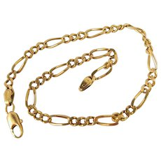 Figaro link chain 18K solid gold curb elongated links Stamped unisex fine jewelry Circa 1960s