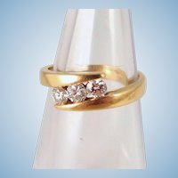Trinity natural modern cut diamonds 0.41ctw 18K solid gold wedding or engagement ring