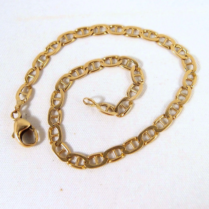 061cc037f SOLD Vintage 18K solid gold bracelet Stamped French fine jewelry Desirable  mariner links