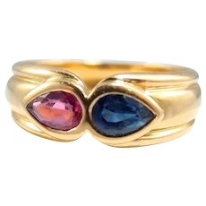 Sapphire and tourmaline ring in 18K solid gold, fine French gold jewelry