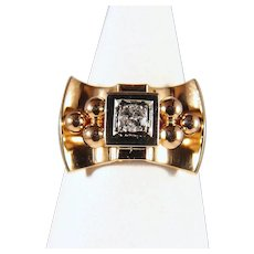 Estate 18K Solid Gold Art Déco Ring Natural diamond Stamped Fine French Jewelry