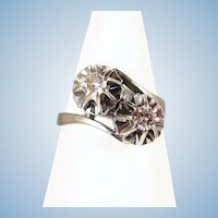 18K solid white gold ring Toi et Moi diamond engagement Anniversary Fine stamped French gold band