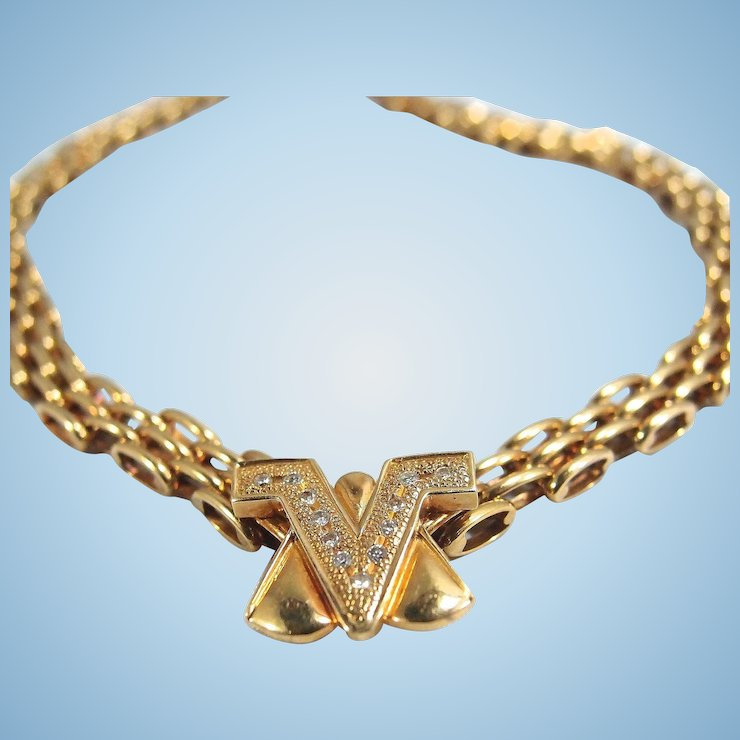 Stamped Italian designer necklace in 18K solid gold and diamonds