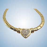 Impressive and massive stamped 18K solid gold necklace with natural brilliant cut diamonds Italian fine gold