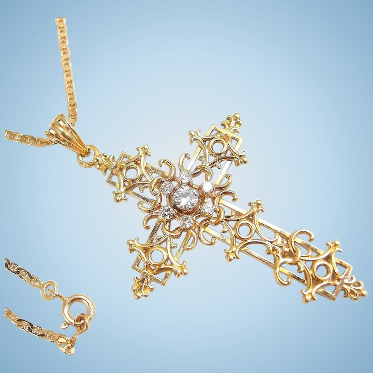 Filigree cross solid 18k yellow gold with chain natural diamonds filigree cross solid 18k yellow gold with chain natural diamonds religious pendant fine gold vintage necklace aloadofball Image collections