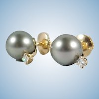 Tahitian Pearl Stud Earrings with 0.12 ctw diamonds in 18K solid gold with 18K Alpa closure