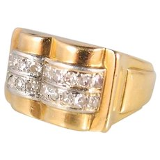 Art Déco ring in 18K solid gold and platinum Stamped 20 single cut diamonds Circa 1920s