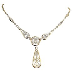Art Nouveau 18K solid gold necklace French stamped gold filigree chain Yellow gold jewelry