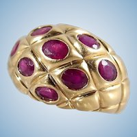 18K solid gold bombé ring with natural rubies Large and heavy dome statement ring Fine gold Mid-century