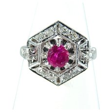 Art Deco ring in platinum 950 Natural ruby and earth mined diamonds Stamped fine jewelry
