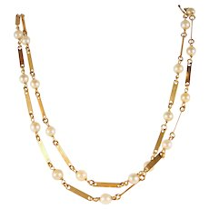 Estate long chain with pearls in 18K solid gold 31 inches fine fancy links Vintage French chain stamped