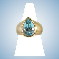 Bezel set Topaz ring Heavy 18K solid gold ring Pear shape Faceted Fine gold jewelry Vintage Déco