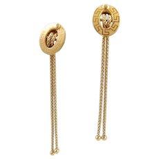Elegant extra long drop earrings (2 5/8in) in 18K solid gold fancy chain dangle earrings Stamped