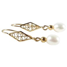 Delicate pearl drop earrings 18K solid gold Stamped fine gold jewelry French filigree danglers
