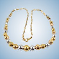 Superbly crafted 18K solid gold necklace White and yellow gold beads Fine French gold jewelry