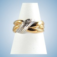 Yellow and white 18K solid gold ring with diamonds Stamped fine gold band