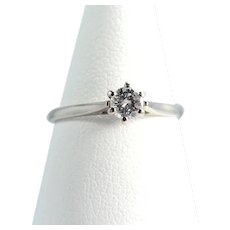 Premium quality natural diamond solitaire 18K solid white gold Stamped French fine bridal jewelry
