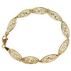 Elegant 18K solid gold stamped bracelet Filigree Art Nouveau style Fine gold French jewelry