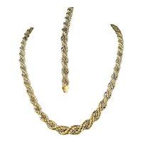 Massive 18K solid gold bracelet and necklace set Stamped fine French gold Twisted rope design