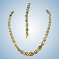 Massive 18K solid gold bracelet and necklace set Stamped fine French gold Twisted rope design
