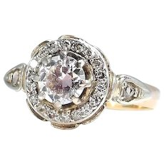 Premium 0.50ct natural diamond ring with smaller round and rose cut diamonds Stamped halo diamond fine engagement ring