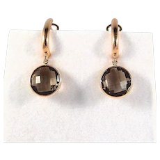 Outstanding earrings Faceted gemstone 18K solid gold French stamped fine danglers 750 drops