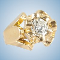 Premium quality natural diamond on 18K solid gold Stamped Retro ring Fine French gold ring