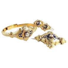 Rare Victorian era Napoleon III bracelet Brooch and earrings set Enamel diamond Stamped 18K solid French gold