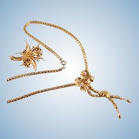 Flowers and snow drops Stamped 18K solid gold necklace and brooch set box link chain Fine gold jewelry