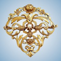 Victorian 18K solid gold and pearl brooch Stamped fine French Napoléon III pendant