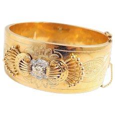 Massive estate 18K solid gold and platinum set diamond bracelet Impressive Retro fine gold bangle