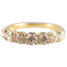 Premium 18K solid gold wedding band with 10 round cut 0.70cttw diamonds Fine solid gold ring