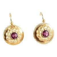 Victorian drop earrings 18K solid gold danglers stamped French dormeuses