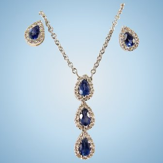 Natural sapphire and diamond fine jewelry set in 18K solid gold Stamped gold necklace and earrings