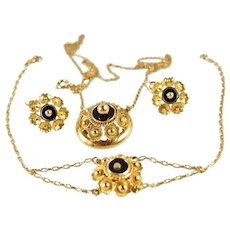 Versatile onyx black glass and solid gold 18K jewelry set Necklace Bracelet Lever back earrings Fine gold vintage jewelry