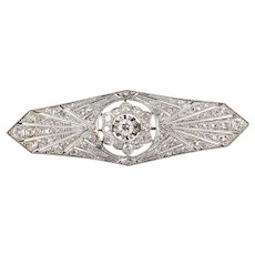 Splendid Art Deco 18K solid gold brooch peppered with natural diamonds Stamped fine gold French jewelry